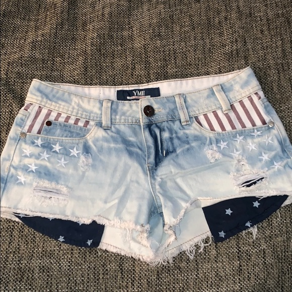 YMI Pants - American flag print denim jean shorts